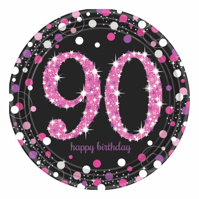 8pk Pink Sparkling Celebration 90th Birthday Prismatic Paper Plates 23cm