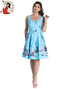 HELL BUNNY COTTON TAIL SKIRT rabbit BUTTERFLY easter 50s style BLUE XS-4XL
