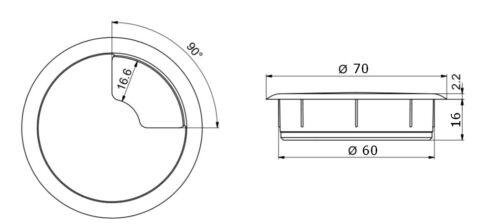 Kabeldurchlass Kabelführung 60mm