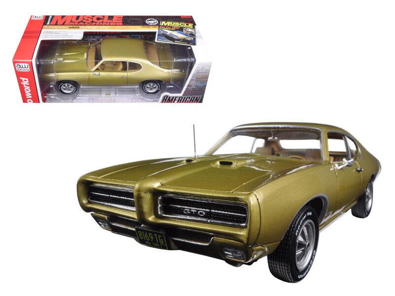 Auto World 1:18 1969 Pontiac GTO Hemmings Muscle Magazine Diecast Gold AMM1081