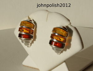 Image Is Loading Multicolours Baltic Amber Earrings Studs With Silver 925