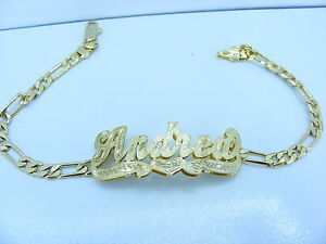 PERSONALIZED-14K-GOLD-GP-FIGARO-CUBAN-FLAT-LINK-DOUBLE-3D-NAME-PLATE-BRACELET-LD