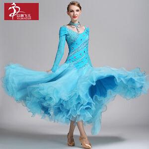 2017 NEW Modern Waltz Tango Smooth Latin Ballroom Competition Dance Dress #S9015