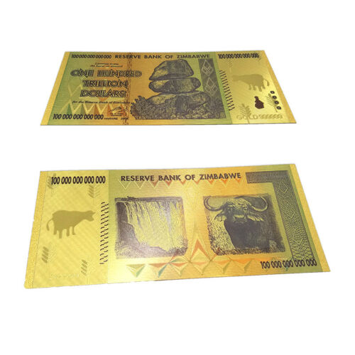Zimbabwe 100 Trillion Dollars,Color 24K Gold bill FANCY Note,Collection Xmas