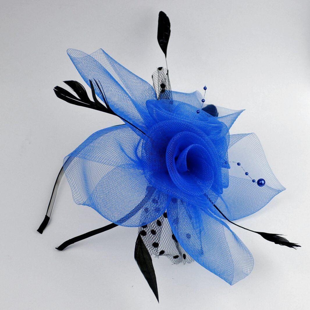 Headband fascinator veil pearls wedding feathers flower hair blue fp