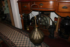 Vintage Middle Eastern Arabic Hammered Copper Brass Table Lamp-Floral Designs