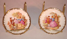 Vintage Limoges Portrait Plates Fragonard Lovers Courting Couple Miniature Set