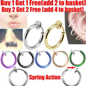Fake-Spring-Clip-On-Nose-Ring-Hoop-Lip-Ring-Helix-Ring-Hoop-Ear-Fake-Ring-Hoop