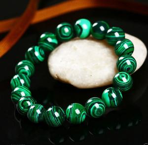 Handmade-Natural-8mm-Green-Malachite-Round-Gemstone-Beads-Stretch-Bracelet-7-5-034