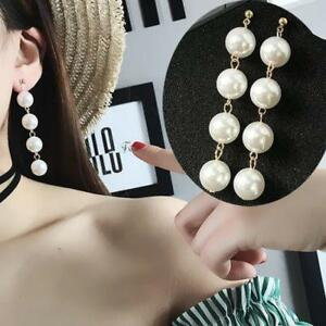 Image Is Loading Long Drop Earrings Bridal Large Faux Pearl