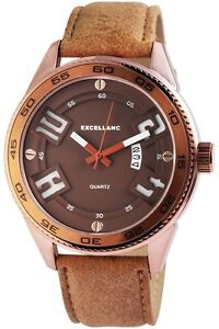 Armbanduhr-Herren-Analog-Quarz-Kunstleder-Braun-Wristwatch-Datum-Kupfer-Uhr-50mm
