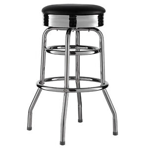 Barhocker-Schwarz-American-Diner-Bar-Barstuhl-50er-Retro-Stuhl-US-Style-Neu