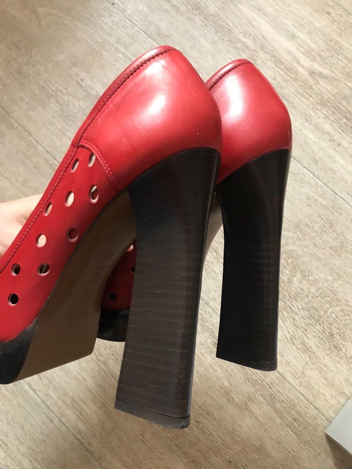 MARNI MARNI MARNI Real Leather Red Pumps Heels Platform 39 69e490