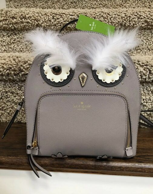 3d40bb94618e7 NWT Kate spade Owl Tomi Star Bright Leather backpack Bag Cityscape Gray NWT
