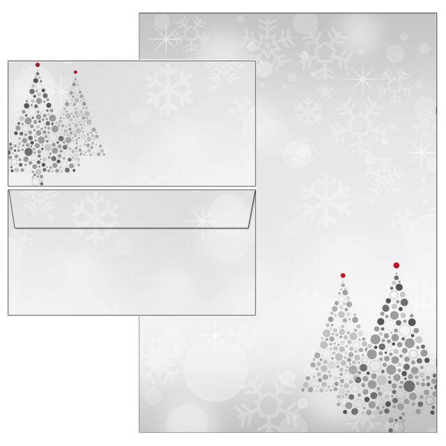 Motivpapier Briefpapier Weihnachtsbaum Merry Christmas grau rot  100 Blatt A4