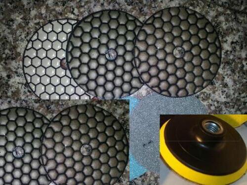 Diamond Polishing Pads 4 inch Dry 11 Piece Set Backer Pad Granite Concrete Stone