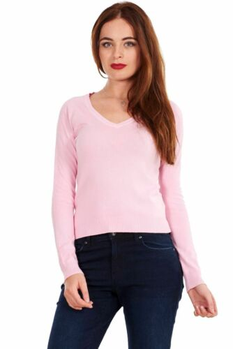 Ladies  V Neck Casual Plain Long Sleeve Pullover Jumper Sweater Top