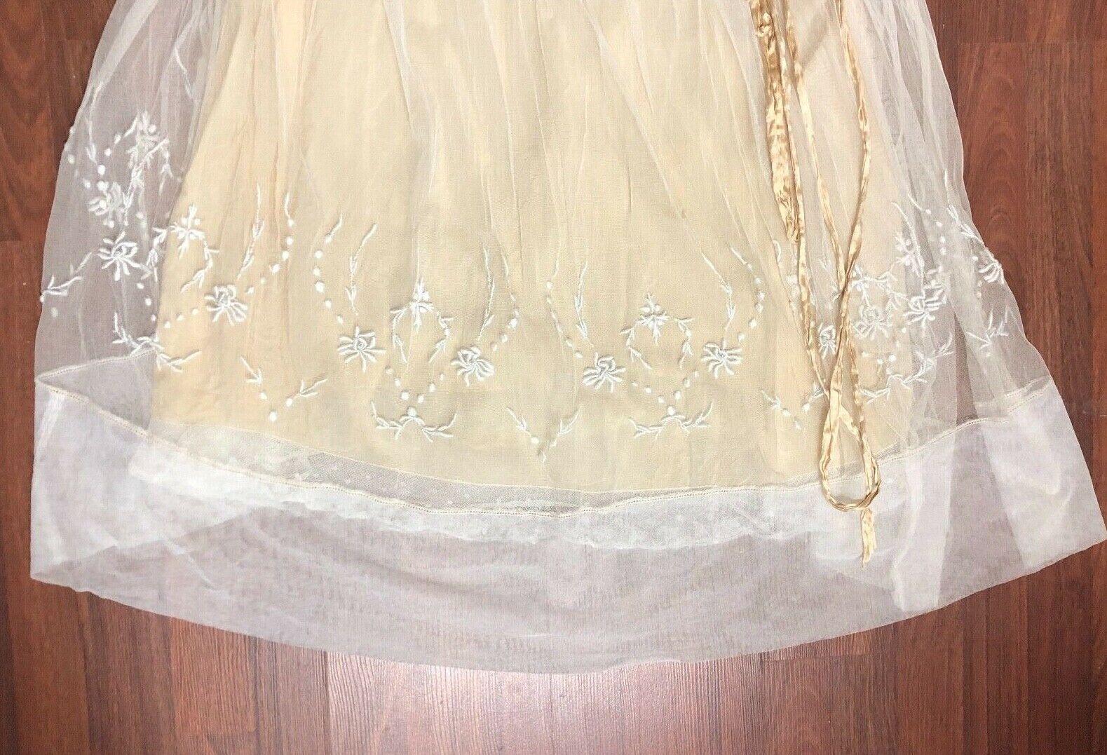 Antique Edwardian White Mesh Dress with Floral Em… - image 7
