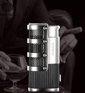 Triple-Torch-Flame-Cigar-Cigarette-Lighter-Butane-Gas-Jet-Lighter-Silver