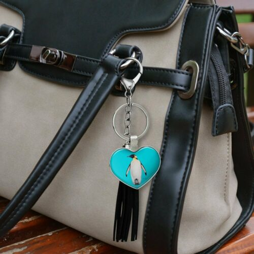 Penguin and Baby Chick Nestling Chrome Heart Leather Tassel Keychain