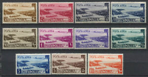 Somalia-1950-Sass-1-11-Postfrisch-100-Flugpost-Flugzeug-Ansicht