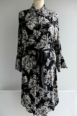 ZARA BLACK WHITE FLORAL PRINTED DRESS WITH COLLAR TUNIC SIZE XS