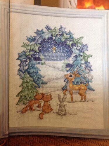 X invernal Reno Navidad árboles Estrella Navidad Tabla De Punto De Cruz