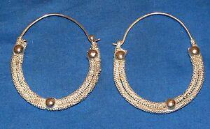 Earrings-Hoop-Rope-Afghan-Kuchi-Tribal-Alpaca-Silver-1-3-4-034-or-2-1-2-034