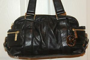 Michael Kors Soft Black Lambskin Leather Side Pocket
