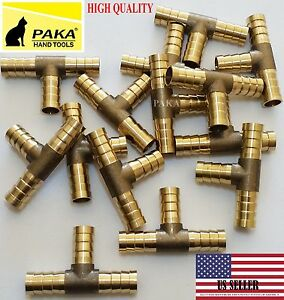 5 PC - 3/8 HOSE BARB TEE Brass Pipe 3 WAY T Fitting Thread Gas Fuel Water Air