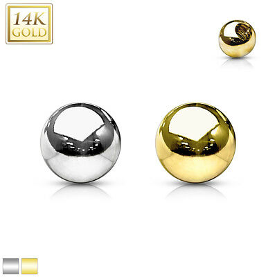14K Solid GOLD Replacement Clear Gem Balls Extra Part Piercings Body Jewelry