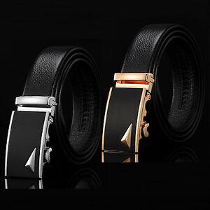 Men-Fashion-Automatic-Buckle-Black-Leather-Strap-Dress-Belt-Waistband-Accessory