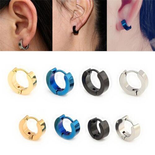 1 Pair Punk Men Women Hoop Ear Stud Stainless Steel Earring Hoop Piercing ed