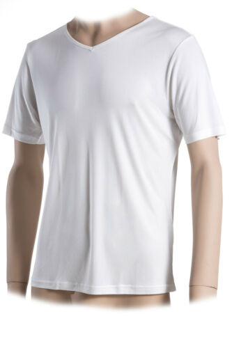 superior Naturals V-Neck 100/% seta L Bianco Interlock Sotto Camicia