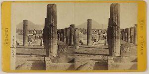 Pompei Forum Italia Foto Stereo L5n34 Vintage Albumina c1870