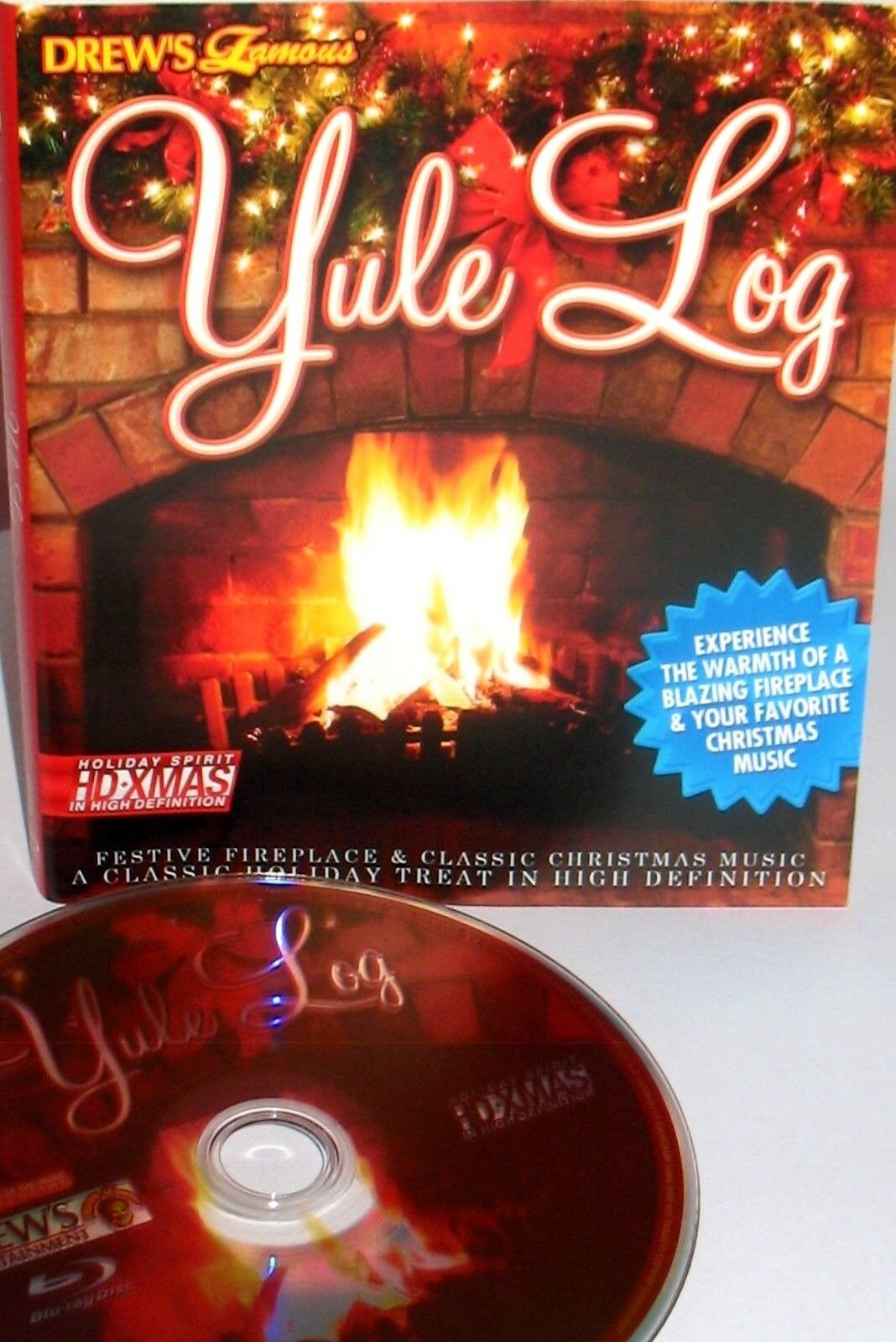Drew's Famous Yule Log Christmas Fireplace Blu-Ray Disc