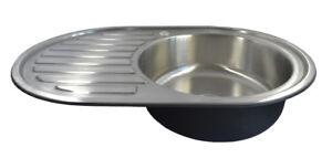 Dettagli su Lavello Cucina Acciaio Inox 304 Tondo Ovale Piletta Lavandino  76,5cm