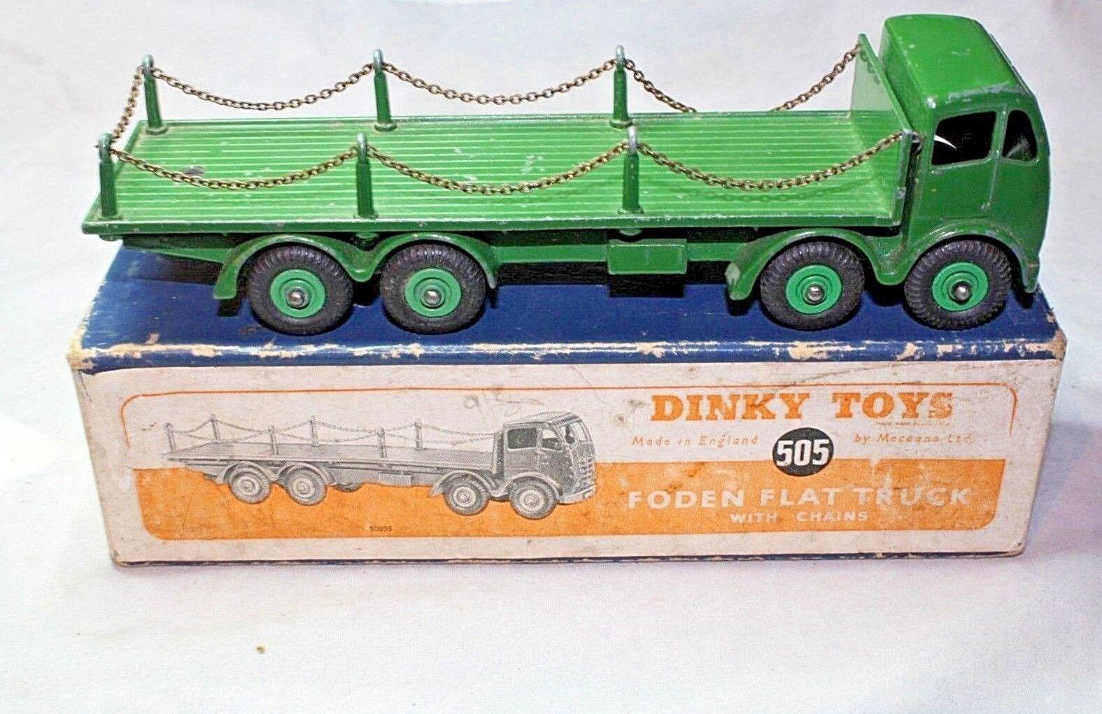 Dinky  505 FODEN Type Plat 2 camion avec chaînes, très bon en boîte d'origine