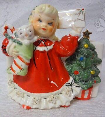 Vintage Napco Girl Mary Christmas Post Cards Holder Planter Japan Pocelain