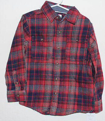Carter/'s Boys Plaid Flannel Button-Front Shirt Long Sleeve NWT blue red yellow