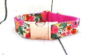 Garden-Party-Floral-Rose-Gold-Buckle-Dog-Puppy-Collar-LIMITED-EDITION