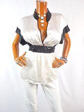 BCBG Womens Top L 100% SILK Low Cut Shirt Off White Black SEXY Blouse Short Slvs
