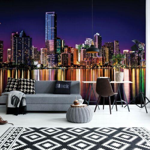 City Skyline At Night Photo Papier Peint Mural Toison facile installer papier