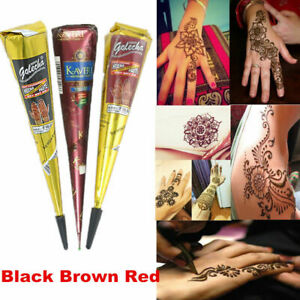 Red-Brown-Natural-Herbal-Henna-Cones-Temporary-Tattoo-Body-Art-Mehandi-Ink-25g