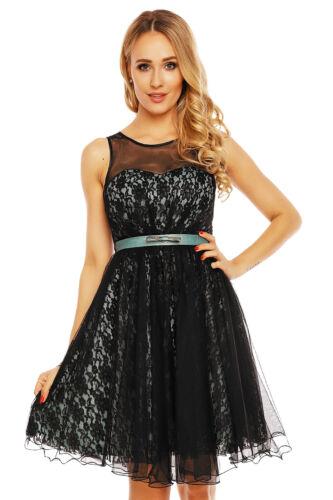 Spitzenkleid Abendkleid mit Tüllrock und Spitze Cocktailkleid Ballkleid 3196