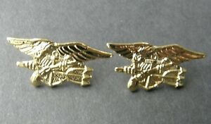 Seal-Team-Gold-Colored-Set-of-2-Trident-Lapel-Pin-Badge-1-1-inches-USN-US-Navy