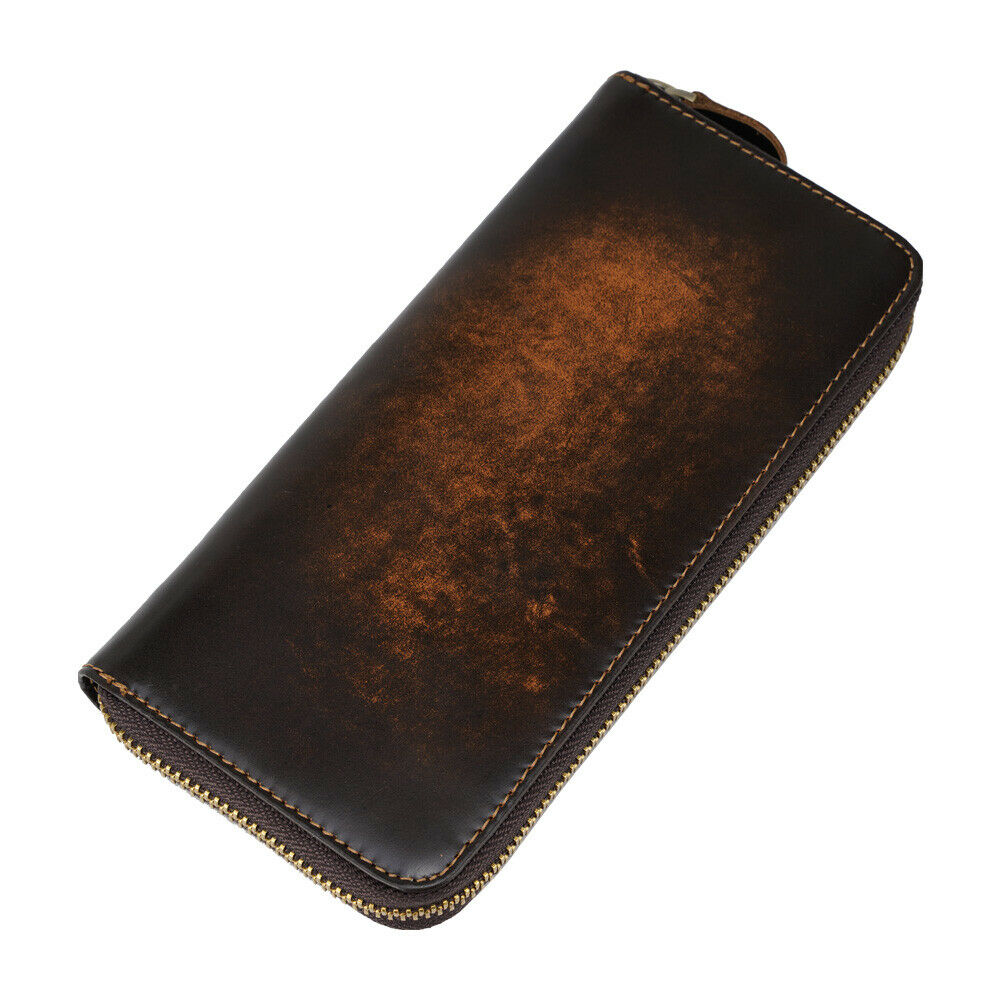 Men Real Leather Long Wallet Clutch Bag Money Clip Coin Checkbook Card Holder
