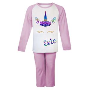 Personalizzata Unicorno Testa PJs Pigiama per bambini Childrens Girl regali Nightwear