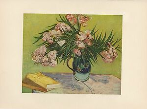 """1952 full Color Art Plate /"""" Oleanders /"""" by Van Gogh Lithograph Litho"""
