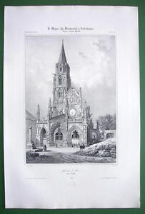 FRANCE-St-Pere-Church-at-Vezelai-SUPERB-Antique-Litho-Print